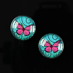 "Cabochon sticla 16mm ""Magic Butterfly"" cod 033"