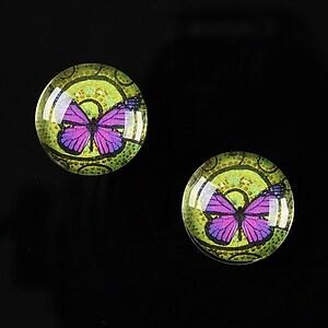 "Cabochon sticla 16mm ""Magic Butterfly"" cod 036"