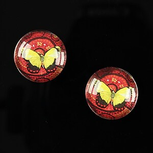 "Cabochon sticla 16mm ""Magic Butterfly"" cod 037"