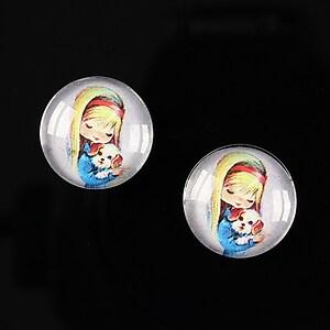 """Cabochon sticla 16mm """"Baby dolls"""" cod 042"""