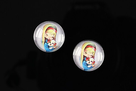 "Cabochon sticla 16mm ""Baby dolls"" cod 042"