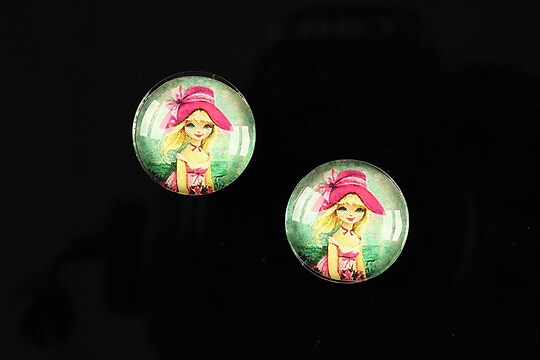 """Cabochon sticla 16mm """"Baby dolls"""" cod 044"""
