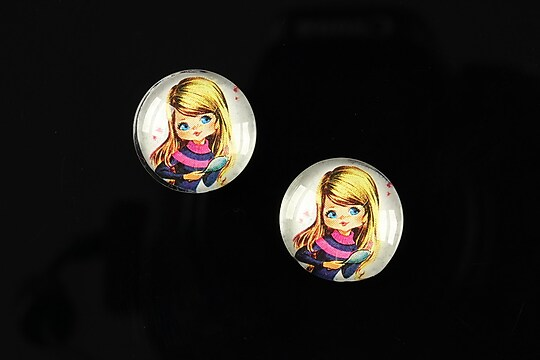 "Cabochon sticla 16mm ""Baby dolls"" cod 045"