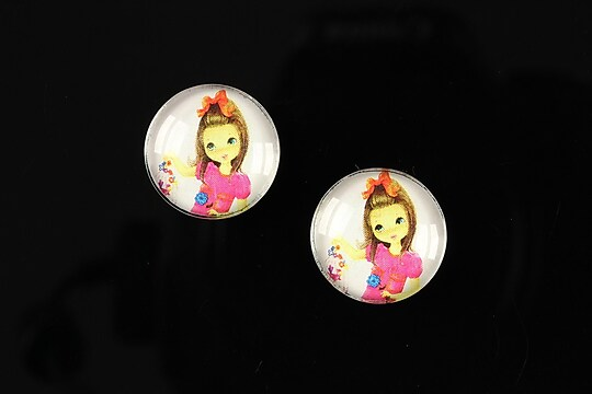 "Cabochon sticla 16mm ""Baby dolls"" cod 048"