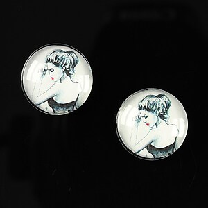 "Cabochon sticla 16mm ""illustration"" cod 057"