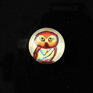 """Cabochon sticla 18mm """"Cutie owl"""" cod 077"""