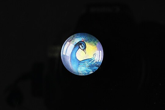 "Cabochon sticla 18mm ""Peacock story"" cod 079"