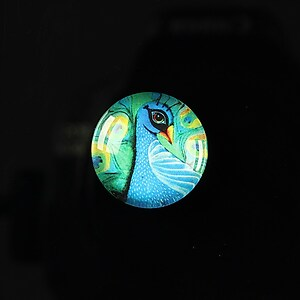 "Cabochon sticla 18mm ""Peacock story"" cod 081"