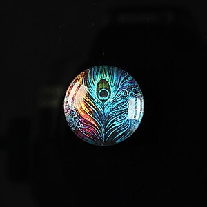 "Cabochon sticla 18mm ""Peacock story"" cod 084"