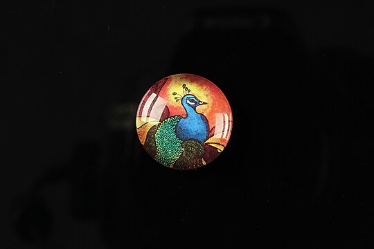 "Cabochon sticla 18mm ""Peacock story"" cod 086"