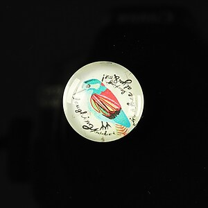 "Cabochon sticla 18mm ""Colorful birds"" cod 109"