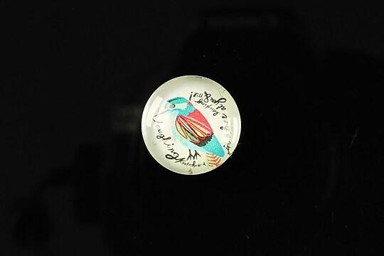 """Cabochon sticla 18mm """"Colorful birds"""" cod 109"""