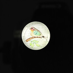 "Cabochon sticla 18mm ""Colorful birds"" cod 108"