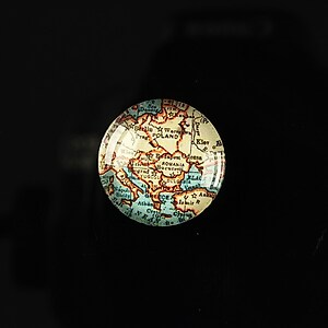 "Cabochon sticla 18mm ""Vintage world map"" cod 112"
