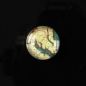 "Cabochon sticla 18mm ""Vintage world map"" cod 113"
