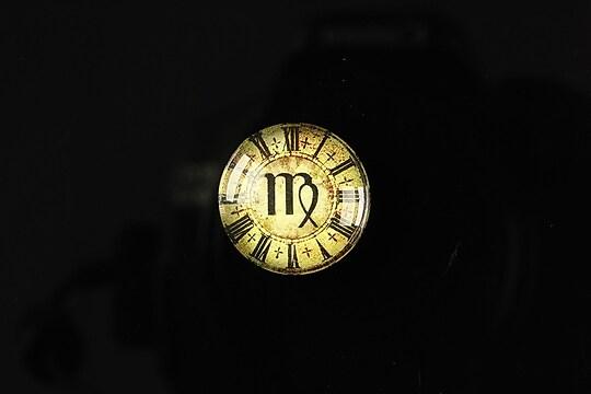 "Cabochon sticla 18mm ""Steampunk zodiac"" fecioara cod 120"