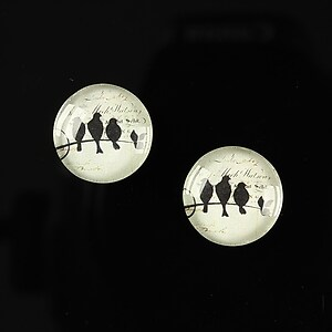 "Cabochon sticla 14mm ""Black on paper"" cod 132"