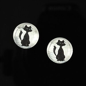 "Cabochon sticla 14mm ""Black on paper"" cod 140"