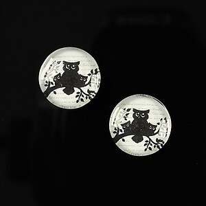 "Cabochon sticla 14mm ""Black on paper"" cod 141"