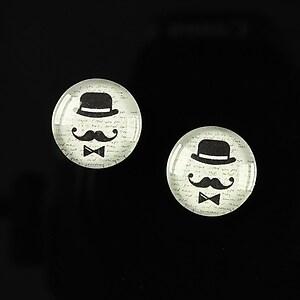 """Cabochon sticla 14mm """"Lovely moustache"""" cod 144"""