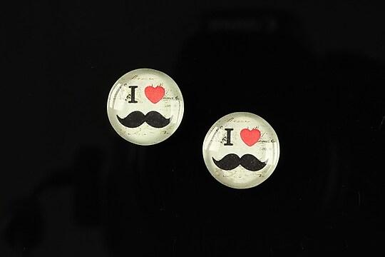 """Cabochon sticla 14mm """"Lovely moustache"""" cod 145"""