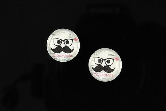 """Cabochon sticla 14mm """"Lovely moustache"""" cod 146"""