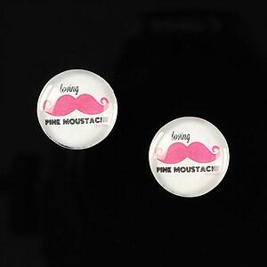 """Cabochon sticla 14mm """"Lovely moustache"""" cod 147"""