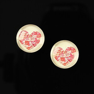 "Cabochon sticla 14mm ""Love actually"" cod 151"