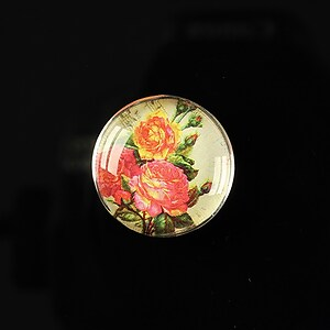 "Cabochon sticla 20mm ""Amazing roses"" cod 157"