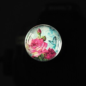 "Cabochon sticla 20mm ""Amazing roses"" cod 162"