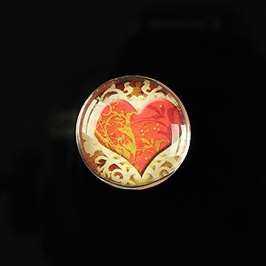 "Cabochon sticla 20mm ""Loving red"" cod 164"