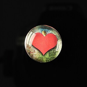 "Cabochon sticla 20mm ""Loving red"" cod 166"