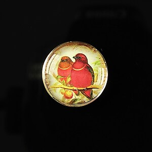 "Cabochon sticla 20mm ""Loving red"" cod 167"