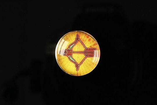 "Cabochon sticla 20mm ""Tribal zodiac"" sagetator cod 171"