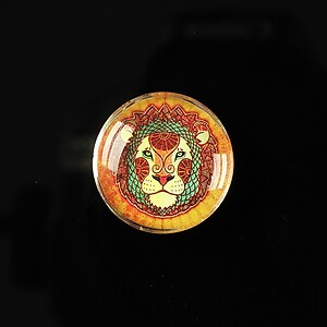 "Cabochon sticla 20mm ""Tribal zodiac"" leu cod 175"