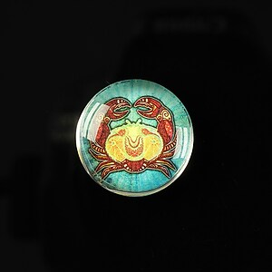"Cabochon sticla 20mm ""Tribal zodiac"" rac cod 176"
