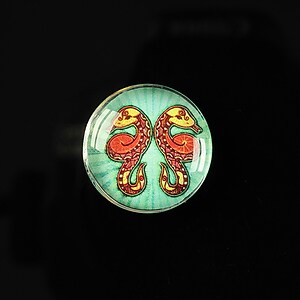 "Cabochon sticla 20mm ""Tribal zodiac"" gemeni cod 177"