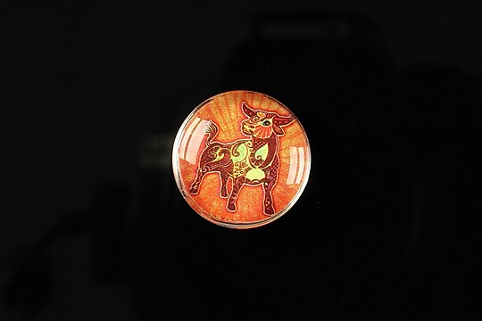 "Cabochon sticla 20mm ""Tribal zodiac"" taur cod 178"