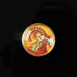 "Cabochon sticla 20mm ""Tribal zodiac"" berbec cod 179"