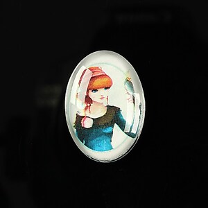 "Cabochon sticla 25x18mm ""Girl next door"" cod 184"