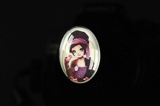 "Cabochon sticla 25x18mm ""Girl next door"" cod 185"