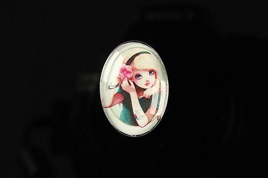 "Cabochon sticla 25x18mm ""Girl next door"" cod 186"