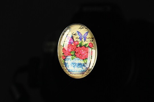 "Cabochon sticla 25x18mm ""Journey in the past"" cod 191"