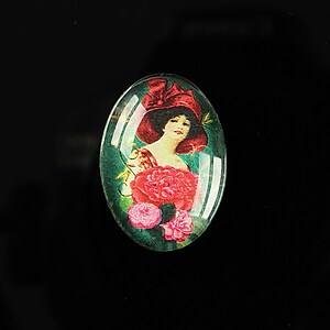 "Cabochon sticla 25x18mm ""Journey in the past"" cod 192"