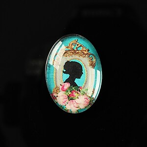 "Cabochon sticla 25x18mm ""Journey in the past"" cod 193"