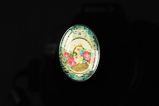 "Cabochon sticla 25x18mm ""Journey in the past"" cod 194"