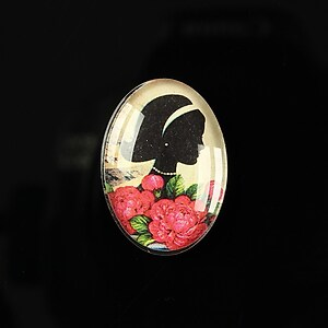 "Cabochon sticla 25x18mm ""Journey in the past"" cod 195"