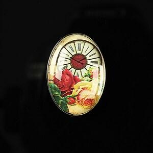 "Cabochon sticla 25x18mm ""Time flowers"" cod 196"