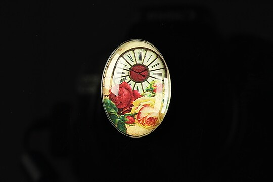 "Cabochon sticla 25x18mm ""Time flowers"" cod 196"