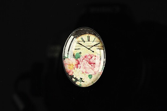 "Cabochon sticla 25x18mm ""Time flowers"" cod 197"